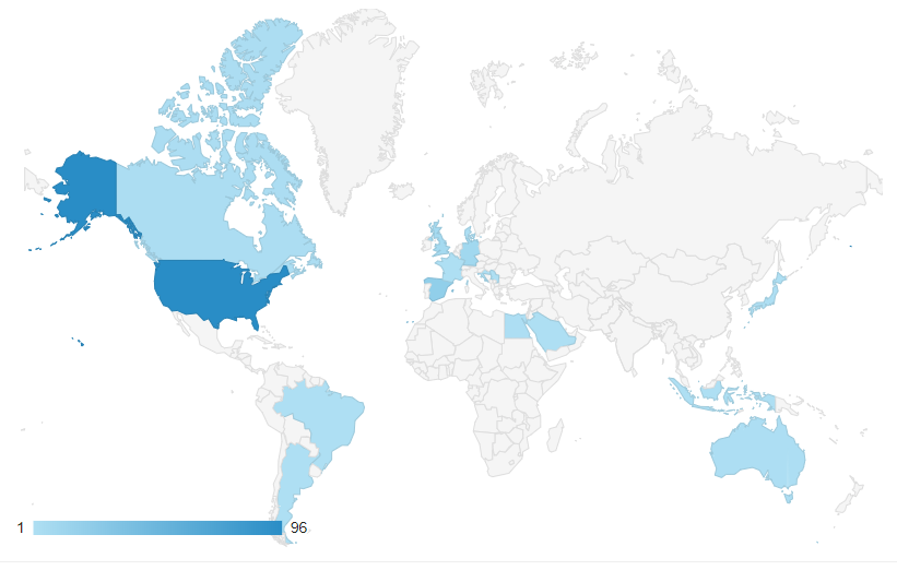 Map of visitors to the ITLJJBD website on ITLJJBD 2019
